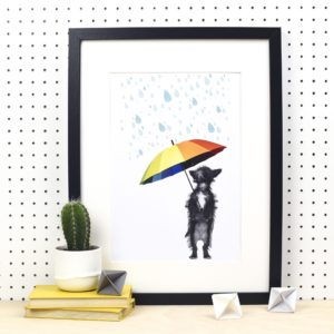 Winston's Adventures: Playing in the Rain A4 Print