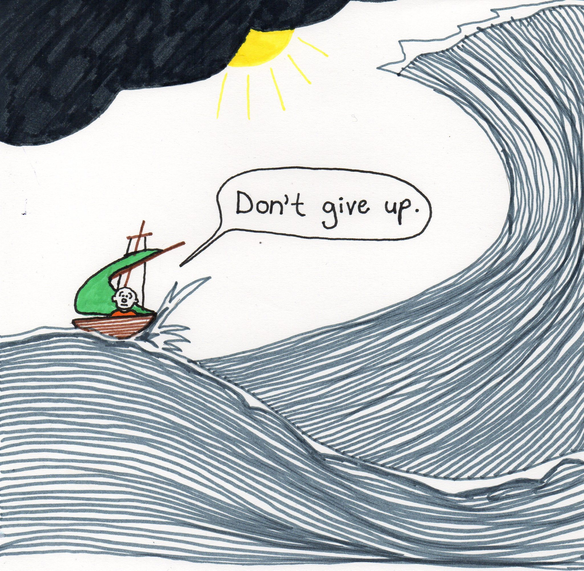 don't give up - a doodle about living with depression