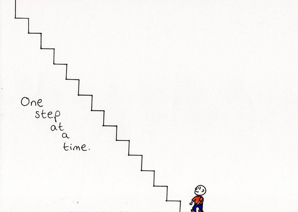 one step at a time - a doodle about living with depression