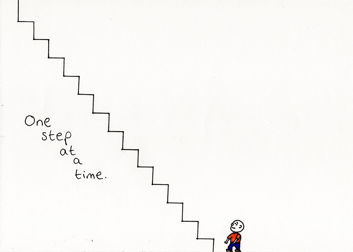 one step at a time - - a doodle about living with depression