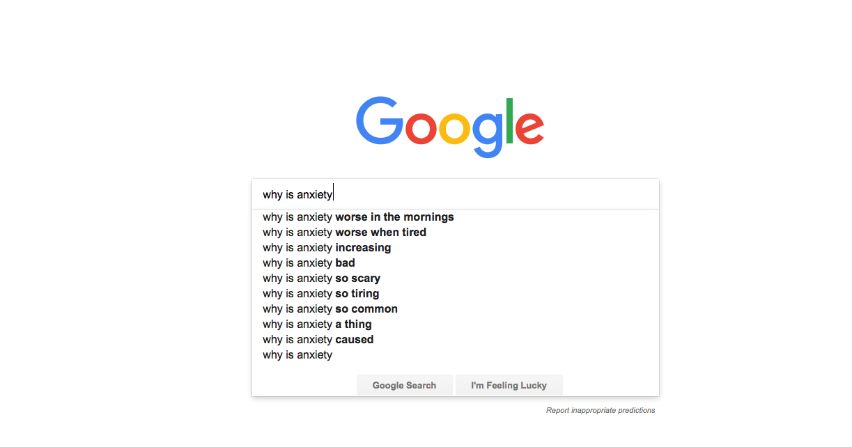 Google Searches: Why Is Anxiety?