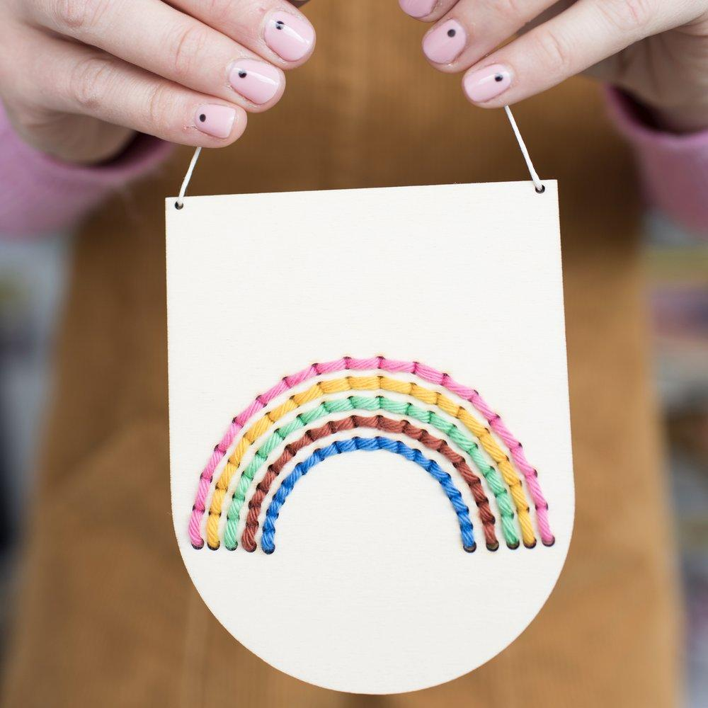 Cotton Clara Rainbow Banner Embroidery Board Kit